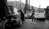 2013 Giro d'Italia.stage 10..Cadel Evans (AUS) arrives at the hotel post race