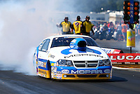 Aug. 17, 2013; Brainerd, MN, USA: NHRA pro stock driver Allen Johnson during qualifying for the Lucas Oil Nationals at Brainerd International Raceway. Mandatory Credit: Mark J. Rebilas-