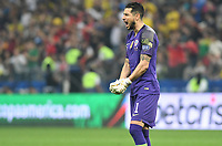 SAO PAULO – BRASIL, 28-06-2019: Gabriel Arias arquero de Chile reacciona tras la victoria de su equipo en la tanda de penales definitorios durante partido por cuartos de final de la Copa América Brasil 2019 entre Colombia y Chile jugado en el Arena Corinthians de Sao Paulo, Brasil. / Gabriel Arias goalkeeper of Chile react after the victory of his team in a shootout during the Copa America Brazil 2019 quarter-finals match between Colombia and Chile played at Arena Corinthians in Sao Paulo, Brazil. Photos: VizzorImage / Julian Medina / Cont /