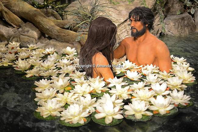 "Adam and Eve are depicted inside the Creation Museum in Petersburg, Kentucky on January 3, 2013.  The Creation Museum teaches the difference between ""man's law"" and ""god's law,"" disputing evolution, evolutionary science and other teachings that eschew the Bible."