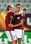 Cathrine Paaske, Johanna Rasmussen,  Women's EURO 2009 in Finland.Denmark-Netherlands, 08292009, Lahti Stadium
