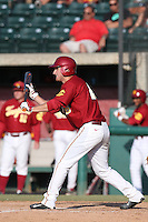 Blake Lacey #26 of the Southern California Trojans looks to bunt during a game against the Oregon State Beavers at Dedeaux Field on May 23, 2014 in Los Angeles, California. Southern California defeated Oregon State, 4-2. (Larry Goren/Four Seam Images)
