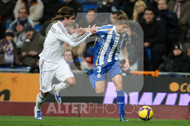 Deportivo de la Coruna's Filipe Luis (r) and Real Madrid's Sergio Ramos (l) during La Liga match.January 25 2009. (ALTERPHOTOS/Acero).