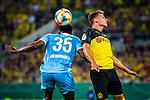 09.08.2019, Merkur Spiel-Arena, Düsseldorf, GER, DFB Pokal, 1. Hauptrunde, KFC Uerdingen vs Borussia Dortmund , DFB REGULATIONS PROHIBIT ANY USE OF PHOTOGRAPHS AS IMAGE SEQUENCES AND/OR QUASI-VIDEO<br /> <br /> im Bild | picture shows:<br /> Kopfballduell zwischen Osayamen Osawe (KFC Uerdingen #35) und Thorgan Hazard (Borussia Dortmund #23), <br /> <br /> Foto © nordphoto / Rauch