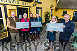 Residents of Stradbally unveil their new plaques denoting the town lands of Stradbally outside  Tomasín's Bar on Tuesday which was supported by Kerry Co Councils Community Suppoert Fund. Front l to r: Lorraine Jackson and Cllr Brendán Fitzgerald (Cathaoirleach, Castleisland-Corca Dhuibhe).<br />  Back l to r: Matt Moloney, Eithne Griffin, Judith Roemburg and June Lynch.