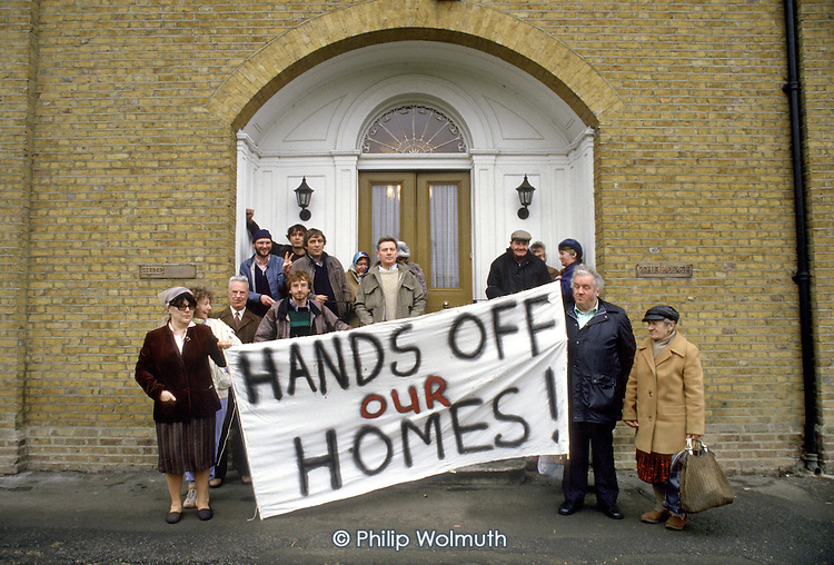 Walterton and Elgin Action Group outside the West Drayton HQ of project management consultants PMI after confronting directors over Westminster Council plans to sell off half the estates' properties; February 1987.