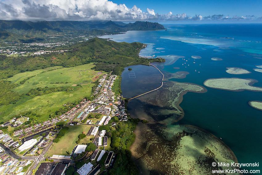 Aerial view of He'eia Pond, He'eia, Oahu