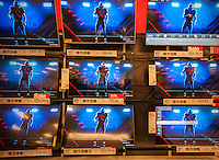 Flat screen television display in the Target store in the City Point mall in Downtown Brooklyn in New York on Saturday, February 25, 2017. (© Richard B. Levine)