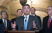 United States Senator Cory Gardner (Republican of Colorado) makes remarks following the Republican Party policy luncheon in the US Capitol in Washington, DC on Tuesday, January 23, 2018.  Pictured from left to right: US Senator Roy Blunt (Republican of Missouri), US Senator John Barrasso (Republican of Wyoming), Senator Gardner, US Senator John Thune (Republican of South Dakota), and US Senate Majority Leader Mitch McConnell (Republican of Kentucky).<br /> Credit: Ron Sachs / CNP