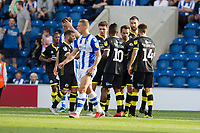 The Crawley players celebrate the equaliser from aFilipe Morais penalty during Colchester United vs Crawley Town, Sky Bet EFL League 2 Football at the JobServe Community Stadium on 13th October 2018