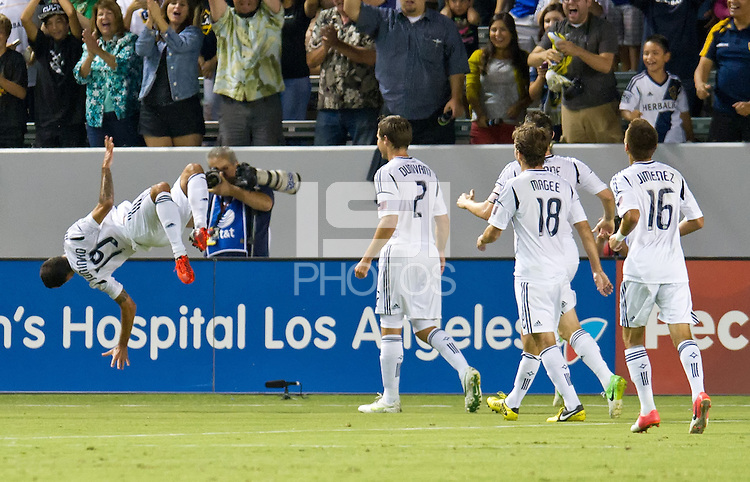 CARSON, CA - September 1, 2012:  LA Galaxy midfielder Juninho (19) celebrating his goal during the LA Galaxy vs the Vancouver Whitecaps FC at the Home Depot Center in Carson, California. Final score LA Galaxy 1, Vancouver Whitecaps FC 0.