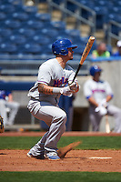 Midland RockHounds catcher Bruce Maxwell (13) at bat during a game against the Tulsa Drillers on June 3, 2015 at Oneok Field in Tulsa, Oklahoma.  Midland defeated Tulsa 5-3.  (Mike Janes/Four Seam Images)
