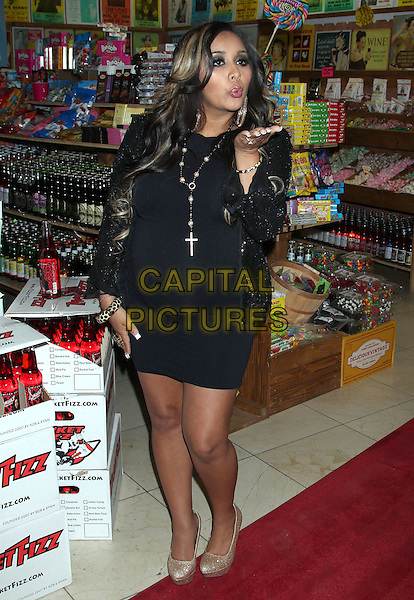 "Nicole ""Snooki"" Polizzi.""Snooki's Wild Cherry Soda"" Launch held at the Rocket Fizz Soda Pop and Candy Shop, Westwood, California, USA..July 18th, 2012.full length black blazer dress gold shoes necklace cross crucifix hand blowing kiss .CAP/ADM/RE.©Russ Elliot/AdMedia/Capital Pictures."