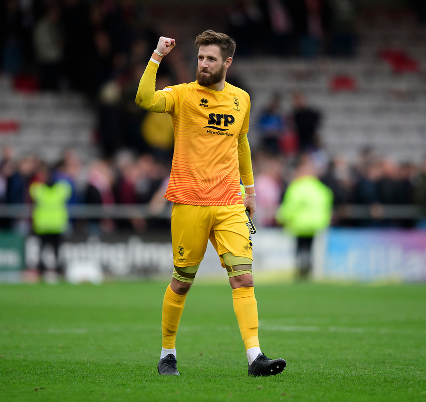 Lincoln City's Josh Vickers celebrates at the end of the game<br /> <br /> Photographer Chris Vaughan/CameraSport<br /> <br /> The EFL Sky Bet League One - Lincoln City v Sunderland - Saturday 5th October 2019 - Sincil Bank - Lincoln<br /> <br /> World Copyright © 2019 CameraSport. All rights reserved. 43 Linden Ave. Countesthorpe. Leicester. England. LE8 5PG - Tel: +44 (0) 116 277 4147 - admin@camerasport.com - www.camerasport.com