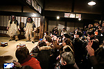 OGA, JAPAN - FEBRUARY 10: In this photo shows a Namahage Festival Performance at the Namahage Museum in Oga, Akita prefecture, Japan on February 10, 2019. Namahage visit each house to admonish sluggards to mend their ways, ward off disasters and offer blessings, looking for evil children, in the area on New Year's Eve. In the festival, which combines the local event of the ceremony of the shrine, visitors can experience these traditions and its folk culture. (Photo by Richard Atrero de Guzman/Aflo)