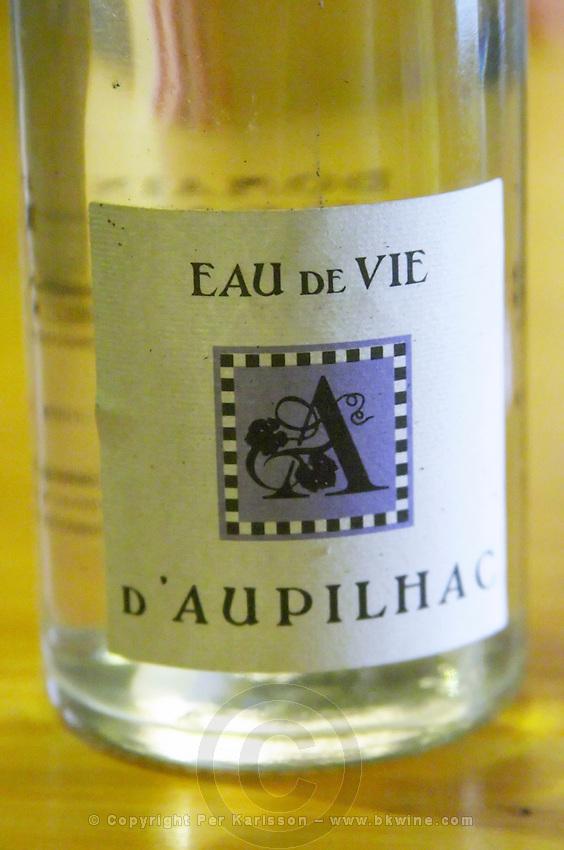 Eau de Vie white grape spirit. Domaine d'Aupilhac. Montpeyroux. Languedoc. France. Europe. Bottle.