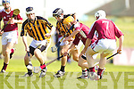 David Doyle and Joe McCarthy Abbeydorney v John Fitzgerald  Shane Sheehan 7 Causeway in the Round Two Senior Hurling County Chamionship at Austin Stack Park in Tralee.
