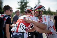 race winner & new National ROAD Champion Tim Merlier (BEL/Corendon - Circus) after finishing is congratulated by teammate Roy Jans (BEL/Corendon-Circus) > ...another cyclocross rider proving his strength as a roadie<br /> <br /> Belgian National Road Championships 2019 - Gent<br /> <br /> ©kramon