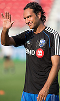 July 3, 2013: Montreal Impact defender Alessandro Nesta #14 waves to the crowd during the warm-up in an MLS game between Toronto FC and Montreal Impact at BMO Field in Toronto, Ontario Canada.<br /> The game ended in a 3-3 draw.