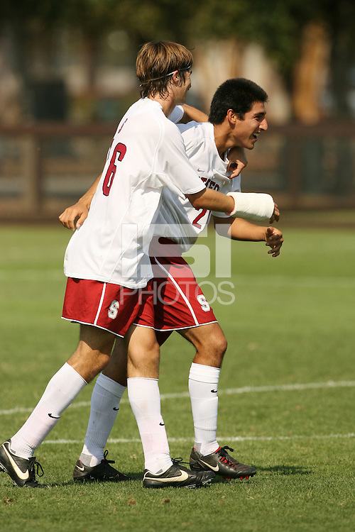 STANFORD, CA - SEPTEMBER 27:  Daniel Leon and Taylor Amman of the Stanford Cardinal during Stanford's 2-0 win over New Mexico State on September 27, 2009 at Laird Q. Cagan Stadium in Stanford, California.
