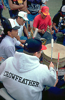Native American musicians playing drum at Pow Wow.  Mendota Heights  Minnesota USA