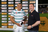 20120803 Copyright onEdition 2012©.Free for editorial use image, please credit: onEdition..Jonathan Joseph of London Irish receives the Man of the Round award at The Recreation Ground, Bath in the Final round of The J.P. Morgan Asset Management Premiership Rugby 7s Series...The J.P. Morgan Asset Management Premiership Rugby 7s Series kicked off again for the third season on Friday 13th July at The Stoop, Twickenham with Pool B being played at Edgeley Park, Stockport on Friday, 20th July, Pool C at Kingsholm Gloucester on Thursday, 26th July and the Final being played at The Recreation Ground, Bath on Friday 3rd August. The innovative tournament, which involves all 12 Premiership Rugby clubs, offers a fantastic platform for some of the country's finest young athletes to be exposed to the excitement, pressures and skills required to compete at an elite level...The 12 Premiership Rugby clubs are divided into three groups for the tournament, with the winner and runner up of each regional event going through to the Final. There are six games each evening, with each match consisting of two 7 minute halves with a 2 minute break at half time...For additional images please go to: http://www.w-w-i.com/jp_morgan_premiership_sevens/..For press contacts contact: Beth Begg at brandRapport on D: +44 (0)20 7932 5813 M: +44 (0)7900 88231 E: BBegg@brand-rapport.com..If you require a higher resolution image or you have any other onEdition photographic enquiries, please contact onEdition on 0845 900 2 900 or email info@onEdition.com.This image is copyright the onEdition 2012©..This image has been supplied by onEdition and must be credited onEdition. The author is asserting his full Moral rights in relation to the publication of this image. Rights for onward transmission of any image or file is not granted or implied. Changing or deleting Copyright information is illegal as specified in the Copyright, Design and Patents Act 1988. If you are in any way unsure of your right to publish thi