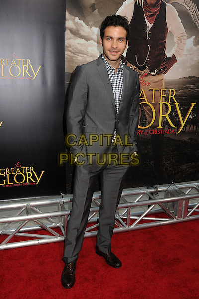 "Santiago Cabrera.""For Greater Glory"" Los Angeles Premiere held at the AMPAS Samuel Goldwyn Theater, Beverly Hills, California, USA..May 31st, 2012.full length suit hands in pockets black white gingham check grey gray stubble facial hair .CAP/ADM/BP.©Byron Purvis/AdMedia/Capital Pictures."