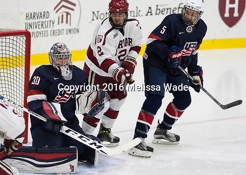 Adam Scheel (NTDP - 30), Tyler Moy (Harvard - 2), Nate Knoepke (NTDP - 5) - The Harvard University Crimson defeated the US National Team Development Program's Under-18 team 5-2 on Saturday, October 8, 2016, at the Bright-Landry Hockey Center in Boston, Massachusetts.