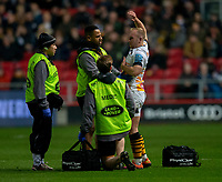 Wasps' Dan Robson receives treatment<br /> <br /> Photographer Bob Bradford/CameraSport<br /> <br /> Gallagher Premiership - Bristol Bears v Wasps - Friday 15th February 2019 - Ashton Gate - Bristol<br /> <br /> World Copyright © 2019 CameraSport. All rights reserved. 43 Linden Ave. Countesthorpe. Leicester. England. LE8 5PG - Tel: +44 (0) 116 277 4147 - admin@camerasport.com - www.camerasport.com