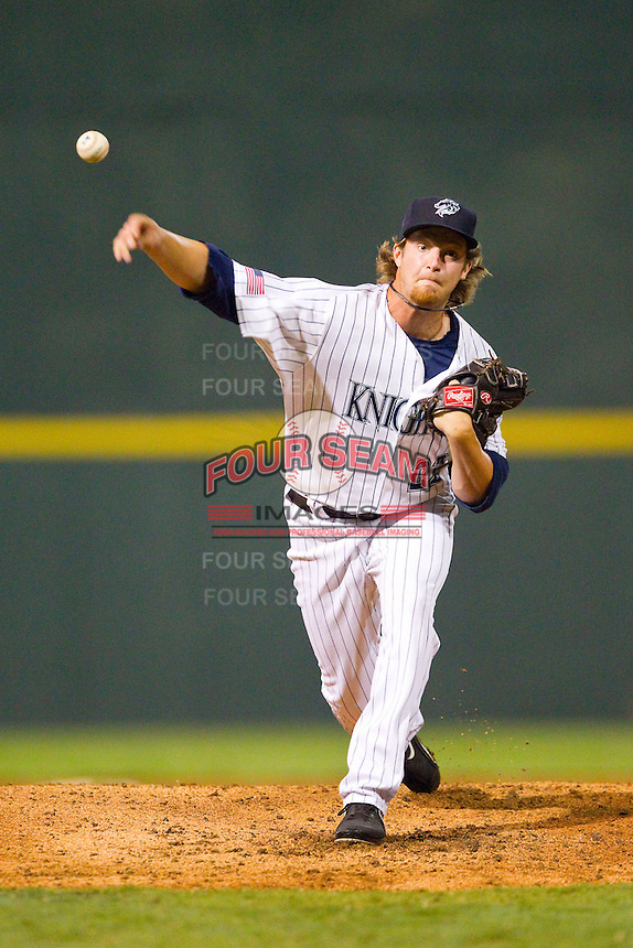 Charlotte Knights relief pitcher Daniel Webb (22) in action against the Lehigh Valley IronPigs at Knights Stadium on August 6, 2013 in Fort Mill, South Carolina.  The IronPigs defeated the Knights 4-1.  (Brian Westerholt/Four Seam Images)