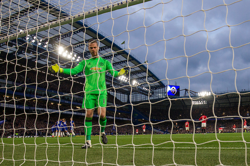 Manchester United's David De Gea looks dejected at conceding his fourth goal of the day<br /> <br /> Photographer Craig Mercer/CameraSport<br /> <br /> The Premier League - Chelsea v Manchester United - Sunday 23rd October 2016 - Stamford Bridge - London<br /> <br /> World Copyright &copy; 2016 CameraSport. All rights reserved. 43 Linden Ave. Countesthorpe. Leicester. England. LE8 5PG - Tel: +44 (0) 116 277 4147 - admin@camerasport.com - www.camerasport.com