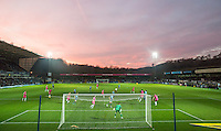 General view as the sun sets during the Sky Bet League 2 match between Wycombe Wanderers and Hartlepool United at Adams Park, High Wycombe, England on 26 November 2016. Photo by Andy Rowland / PRiME Media Images.