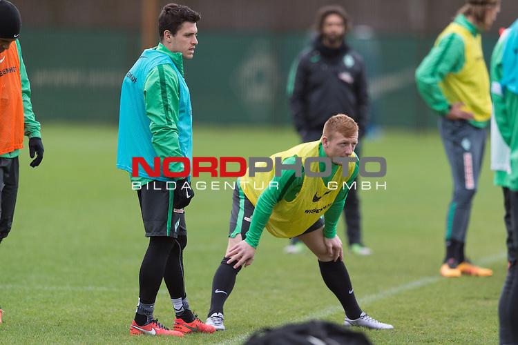 07.02.2016, Trainingsgelaende, Bremen, GER, 1.FBL, Training Werder Bremen<br /> <br /> im Bild<br /> Zlatko Junuzovic (Bremen #16), Laszlo Kleinheisler (Bremen #6), <br /> <br /> Foto &copy; nordphoto / Ewert