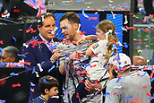 3rd February 2019, Atlanta Georgia, USA; NFL Superbowl LIII, New England Patriots versus Los Angeles Rams; New England Patriots quarterback Tom Brady (12) and his daughter Vivian are interviewed by CBS Sports Jim Nance after winning Super Bowl LIII