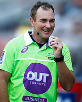 DURBAN, SOUTH AFRICA - APRIL 19: Assistant Referee  Glen Jackson during the Super Rugby match between Cell C Sharks and Reds at Jonsson Kings Park Stadium on April 19, 2019 in Durban, South Africa. Photo: Steve Haag / stevehaagsports.com