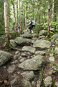 Appalachian Trail - Day hikers make their way south along the TWINWAY Trail  during the summer months. Located in the White Mountains, New Hampshire USA.