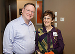 WATERBURY, CT-052417JS26-  Bill Morrow, Senior Relationship Leader for the Internal Revenue Service with Sheryl Horowitz, with the Connecticut Association for Human Services, during a celebration of volunteers who participated in the VITA (Volunteer Income Tax) program, at the United Way of Greater Waterbury. <br /> Jim Shannon Republican-American