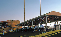 """Ballparks: San Bernardino """"The Ranch"""". Awning and terrace (another on right field side). Wheel chair access by ramp at rear."""