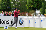 Michael Hoey (NIR) warms up in front of the 4 trophies before teeing off on the 1st tee to start the Final Day of the BMW PGA Championship Championship at, Wentworth Club, Surrey, England, 29th May 2011. (Photo Eoin Clarke/Golffile 2011)