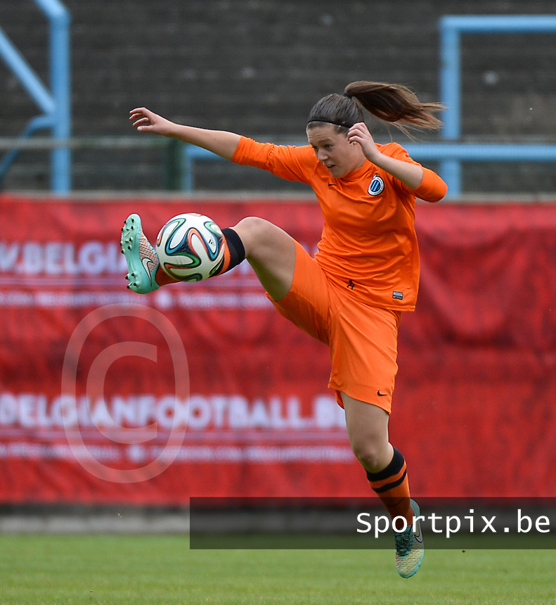20150514 - BEVEREN , BELGIUM : Brugge's Frauke Timmerman pictured during the final of Belgian cup, a soccer women game between SK Lierse Dames and Club Brugge Vrouwen , in stadion Freethiel Beveren , Thursday 14 th May 2015 . PHOTO DAVID CATRY