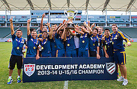 Carson, California - Saturday, July 19, 2014: The LA Galaxy defeated Real Salt Lake AZ 2-0 in the 2013-14 Development Academy U-15/16 Championship at StubHub Center.