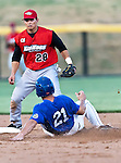 Fort Worth Cats Catcher Kelley Gulledge (21) and Grand Prairie AirHogs Short Stop German Duran (28) in action during the American Association of Independant Professional Baseball game between the Grand Prairie AirHogs and the Fort Worth Cats at the historic LaGrave Baseball Field in Fort Worth, Tx. Fort Worth defeats Grand Prairie 8 to 7...