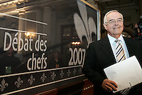 Quebec City, March 13, 2007 ? Jacques Moisan gets ready for the debate between Jean Charest, Mario Dumont and André Boisclair at National Assembly March 13, 2007. Moisan acts as the moderator.