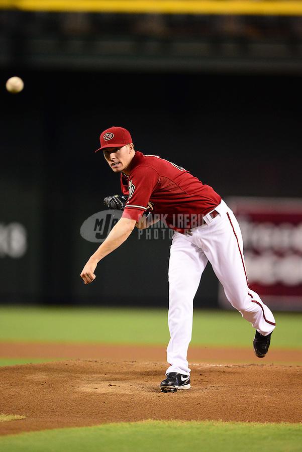 Aug. 29, 2012; Phoenix, AZ, USA: Arizona Diamondbacks pitcher Patrick Corbin against the Cincinnati Reds at Chase Field. Mandatory Credit: Mark J. Rebilas-USA TODAY Sports