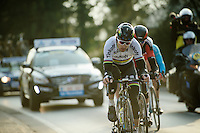 World Champion Peter Sagan (SVK/Tinkoff-Saxo) leading a select group to the finish with 10km to go<br /> <br /> 71st Omloop Het Nieuwsblad 2016