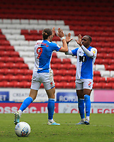 18th July 2020; Ewood Park, Blackburn, Lancashire, England; English Football League Championship Football, Blackburn Rovers versus Reading; Sam Gallagher of Blackburn Rovers celebrates with teammate Ryan Nyambe after beating Reading goalkeeper Rafael with a header to give his side a 4-3 lead after 85 minutes