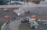 Feb 10, 2007; Daytona, FL, USA; ARCA RE/MAX Series driver Josh Wise (22) spins in turn four causing a multi car accident during the ARCA 200 at Daytona International Speedway. Mandatory Credit: Mark J. Rebilas