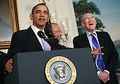 United States President Barack Obama delivers remarks and then signs an executive order creating the bipartisan National Commission on Fiscal Responsibility and Reform on Thursday, February 18, 2010. The event was held in the Diplomatic Reception Room.  Vice President Joe Biden was also on hand for the event as well as the co-chairs, Erskine Bowles and Alan Simpson.  .Credit: Gary Fabiano / Pool via CNP