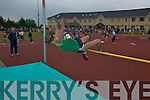Emma Prenderville (Lispole) makes the winning Jump to win the u16 high jump competition at the Community Games County finals at An Riocht Track, Castleisland, last Saturday. .
