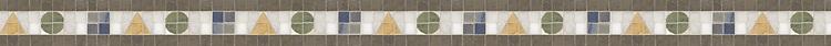 "2 3/8"" Geometria border, a hand-cut stone mosaic, shown in polished Verde Luna, Crema Valencia, Calacatta Tia, Blue Macauba, and honed Montevideo."